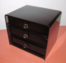 Vtg 70's Black Lucite Small Part Jewelry Vanity Box Cabinet Mid Century Modern