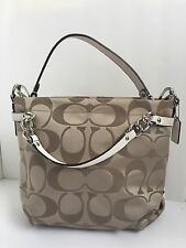 $298 AUTHENTIC COACH BROOKE KHAKI SIGNATURE SATCHEL HOBO SHOULDER HANDBAG