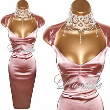 KAREN MILLEN Exquisite DUSKY PINK Satin GALAXY Wiggle HOURGLASS DRESS  UK 8