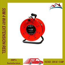 NEW 50M 4 WAY HEAVY DUTY CABLE 50 METER EXTENSION REEL LEAD MAINS SOCKET 13 AMP