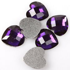 300pcs Purple Heart Stick-on Resin Faceted Embellishments Flatback On Sale C