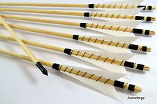 """6x flechas de madera selfnock flechas Lang arco recurve 5"""" English tradicionalmente blanco"""