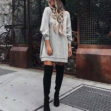 Womens Long Sleeve Sweatshirt Evening Party Loose Pullover Sweater Shirts Dress