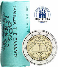 25 x Griechenland 2 Euro Gedenkmünze 2007 bfr. Römische Verträge in Sichtrolle