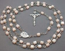 Rosary Necklace Tube Beads Chain Silver Tone Crucifix Center CREAMY WHITE Nice!