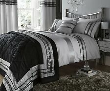 LUXURY DIAMANTE DESIGNER SINGLE BED DUVET QUILT COVER BEDDING SET PANDORA SILVER