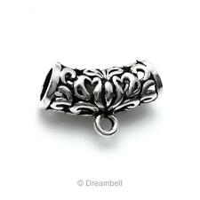 Sterling Silver Bali Flower Butterfly Leaf Tube Bead Bail Pendant Connector
