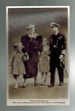 Mint RPPC Postcard King George VI KGVI Real Picture With Queen and Children