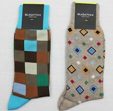 BUGATCHI Men's Cotton Blend Socks - NEW NWT (2 Pairs) Italy