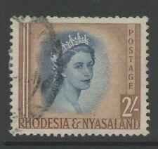 RHODESIA & NYASALAND SG11 1954 2/= DEEP BLUE & YELLOW-BROWN FINE USED