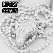 "925 STERLING SILVER LAB DIAMOND BABY SHOE PENDANT 24""MOON CUT CHAIN12g A42"
