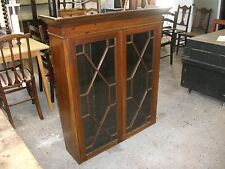 3' Antique Astragal Glazed Dresser Top Lock Key Bookcase Cabinet Unit Cupboard