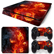 Sony PS4 Playstation 4 Slim Skin Aufkleber Schutzfolie Set - Fire Flower Motiv