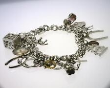 "Sterling Silver 7.5"" Vintage Charm Bracelet with Locking Box Clasp. (B3308)"