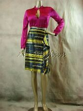 $235 New THEORY Bianca Fuchsia Tunic Stretchy Pleated Low Cut Shirt Top S