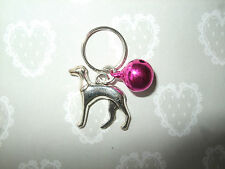Anti-Theft Purse Bell Charm Lurcher Dog Pink Security Handmade Greyhound Whippet