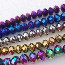 50 Mixed Metallic Rondelle Faceted Crystal Glass Loose Spacer Beads Finding 6mm