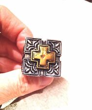 Vintage Large Stainless Steel Gold Silver Cross Crest Size 10.5 Men's Ring