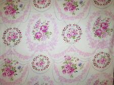 ANTIQUE ROSES VINTAGE FLOWERS ROSE PINK CIRCLES COTTON FABRIC FQ