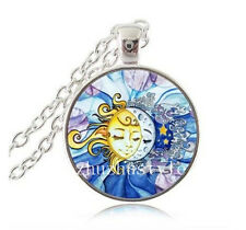 NEW  Sun and moon Cabochon Glass Tibet Silver Chain Pendant Necklace#R14