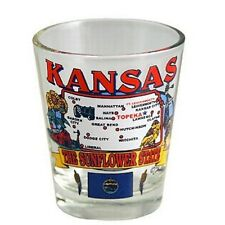KANSAS STATE ELEMENTS MAP SHOT GLASS SHOTGLASS