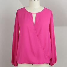 Vince Camuto Pink Keyhole Chiffon Swing Bubble Dress Shirt Top Summer Blouse XS