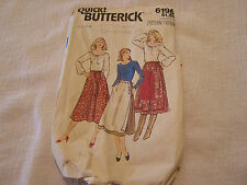 Vintage 70's Butterick 6196 Sewing Pattern Women's Dirnl Over Skirt Size Small S