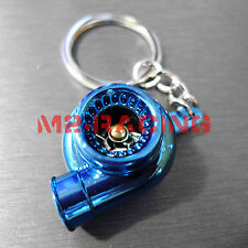 Chrome Blue Spinning Turbo Turbocharger Auto Racing Tuning Part Keychain Keyring