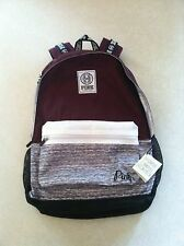 Victoria's Secret PINK Campus Backpack Bookbag Black Orchid Burgundy Gray NWT