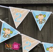 Personalised 1st, 2nd Birthday Boy Party Decoration Bunting Banner Monkey