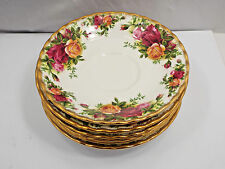 """Royal Albert England Old Country Roses 6 Saucers Only, 5 1/2"""""""
