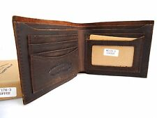 Men's Leather Wallet 5 Credit Card Slots 1 id Window 2 Bill Compartments Bifold