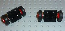 LEGO - PLATE, Modified 2 x 2 w/ Wheels Red, Smooth Tyre BLACK x2(122c01assy1)WL2