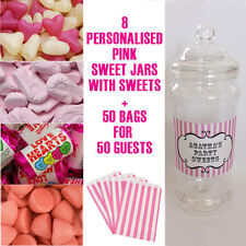PINK PERSONALISED CANDY JAR BAGS SWEETIE TABLE BUFFET BAR WEDDING PARTY BIRTHDAY
