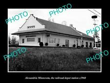 OLD LARGE HISTORIC PHOTO OF ALEXANDRIA MINNESOTA, THE RAILROAD STATION c1960