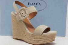 PRADA PONICE BEIGE SUEDE LEATHER WEDGE SANDALS SHOES 35.5/5.5 $850