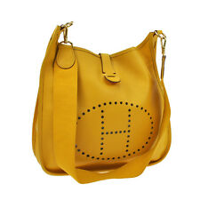 Authentic HERMES EVELYNE GM Shoulder Bag Yellow Couchevel Vintage France V03947