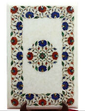 """12""""x18"""" Marble Coffee Table Top Marquetry Lapis Inlay Mosaic Garden Decor H1688"""