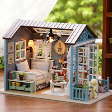 American Retro DIY DollHouse Miniatures House Gift LED Furniture Kit with Light