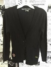 Under Armour Boston College Eagle Golf Wool Blend Black Cardigan Loose Fit Small
