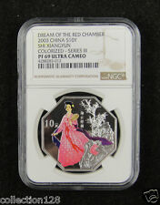 CHINA Silver Coin 10Y 2003,Colorized,Dream of Red Chamber Shi Xiangyun, NGC PF69