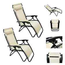 Lounge Chair Recliner Patio Pool Beach Outdoor Folding Chair-1 Pair Tan/Beige