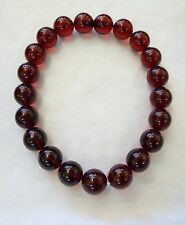 Amazing Vintage Very Rare Cherry Amber Large Round Bead Necklace Deep Rich Red