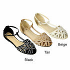 New Womens Strappy Gladiator Flip Flop Sandal NS Black Tan Beige Size 5-10