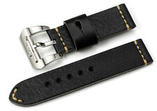 24mm Black Genuine Leather Watch Band Submarine Tang Buckle Strap For Panerai