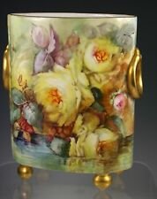 Limoges FRANCE HAND PAINTED Roses Cache Pot Vase