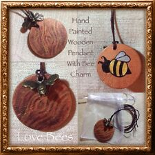 Love Bees Autumn Bee Pendant  - Hand Painted - Gift - Wooden - Double Sided