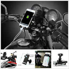 Universal Motorcycle USB Charging Mount Phone GPS Mobile Iphone Cradle Holder