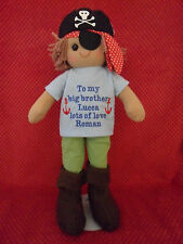 PERSONALISED NEW BABY BIG/LITTLE BROTHER BOY PIRATE RAG DOLL GIFT BEAR