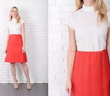 Vintage 70s Color Block Dress White + Red Slouchy draped Medium M